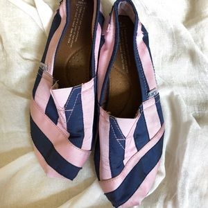 Pink and Blue Striped TOMS